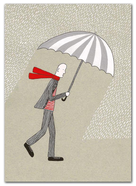 Poster man in de regen